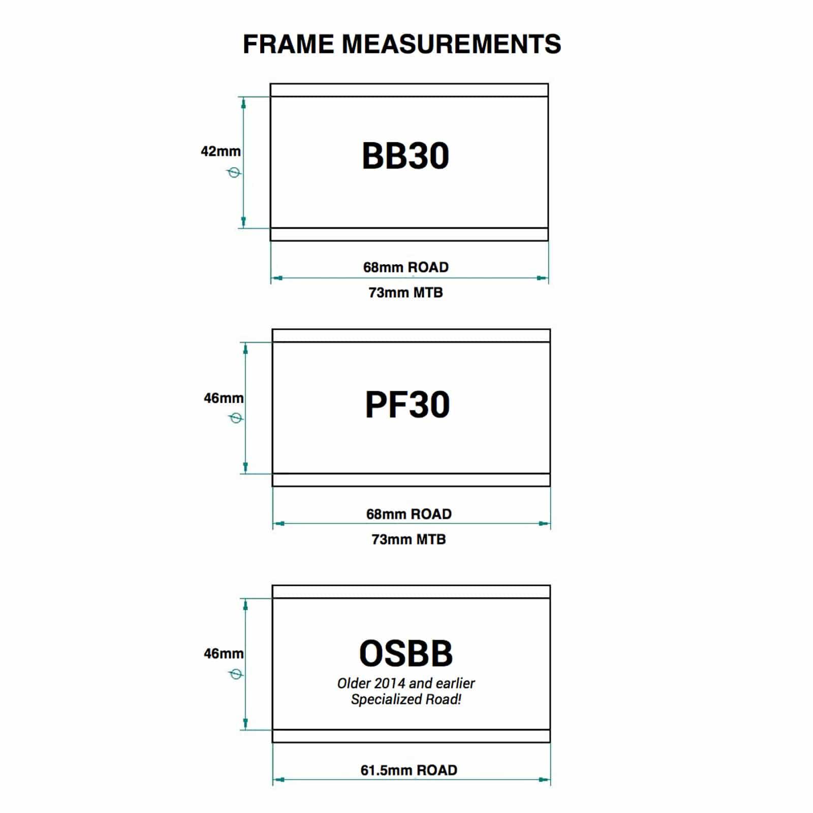 Praxis Works Road Bike Bottom Bracket 68mm BB30// PF30 Converter Shimano 24mm  BB